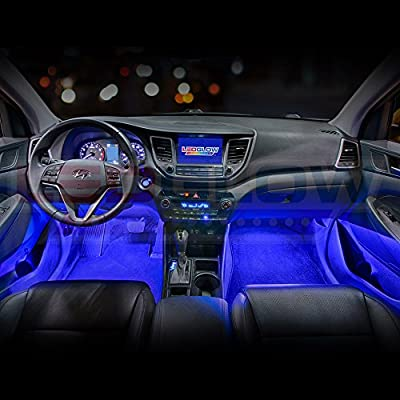 LEDGlow 4pc Blue LED Interior Footwell Underdash Neon Lighting Kit for Cars & Trucks - 7 Unique Patterns - Music Mode - 8 Brightness Levels - Auto Illumination Bypass Mode - Universal Fitment: Automotive