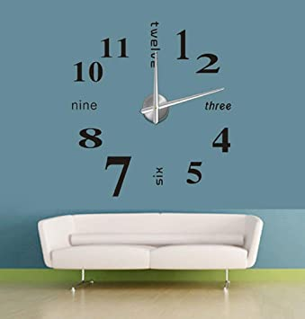LuckES 3d sin Marco Pegatinas de pared grande reloj estilo relojes horas bricolaje decoración para el
