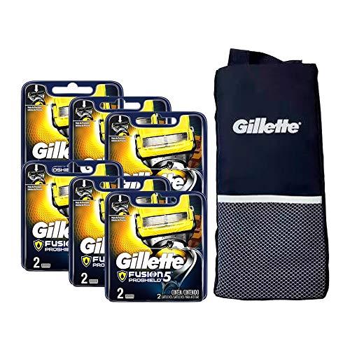 Kit com 12 Cargas Gillette Fusion Proshield + 1 Porta Chuteira