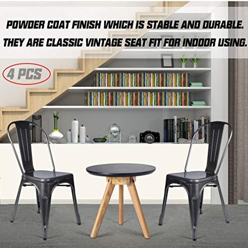 U-Kiss metall trädgård matstol set – klassisk industriell stil middag lunchstol, lounge köksstolar för café bistro inomhus/utomhus bröllopsfest (set med 4)