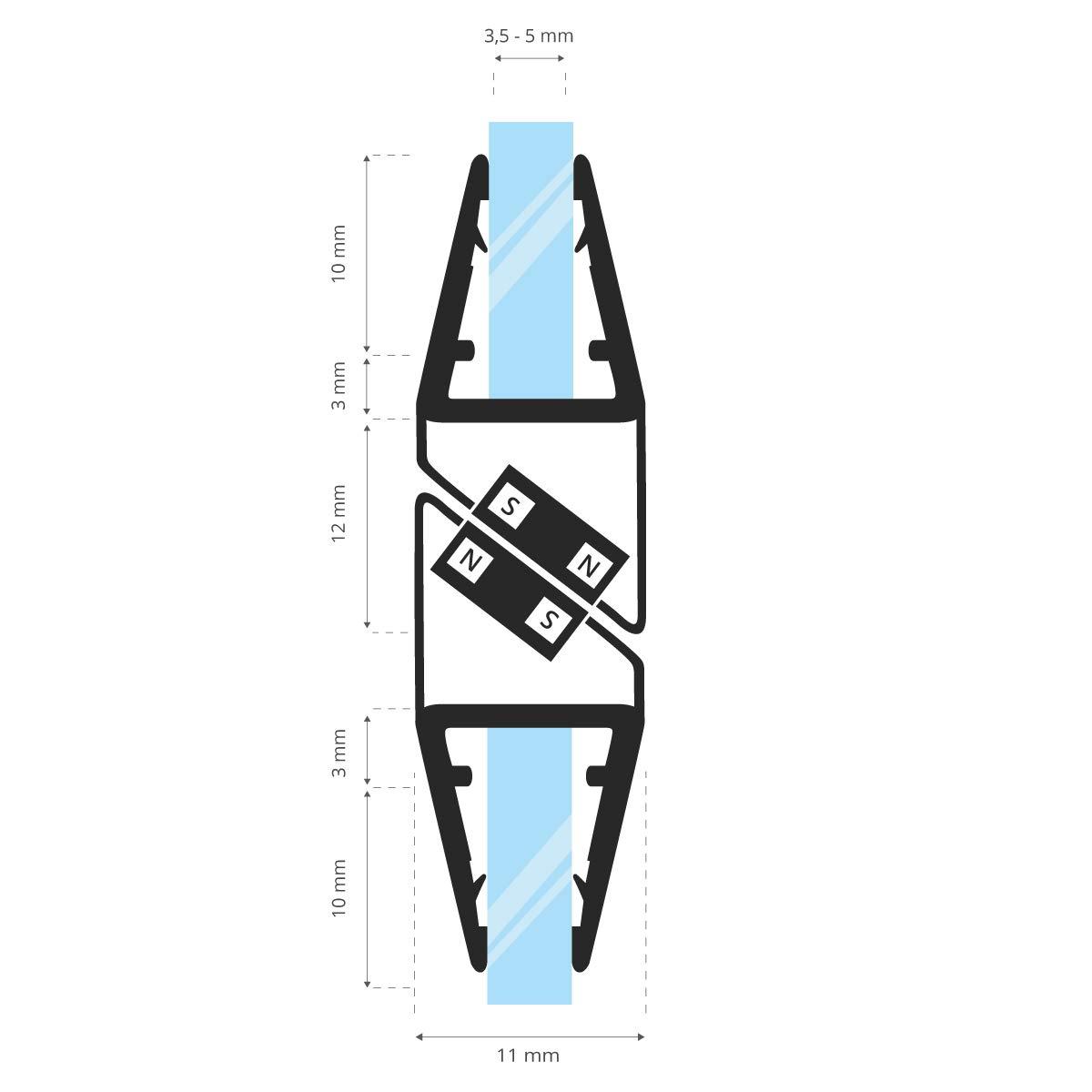 3,5//4//5 mm 2 piezas 180 grados STEIGNER Juego de Juntas Magn/éticas para la Puerta de Cabina de Ducha UKM03 150 cm