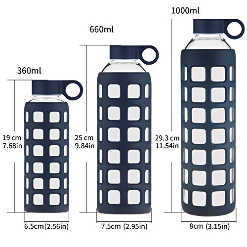 c9e437865f ... Origin Best BPA-Free Borosilicate Glass Water Bottle with Fun Square  Silicone Sleeve and Leak ...
