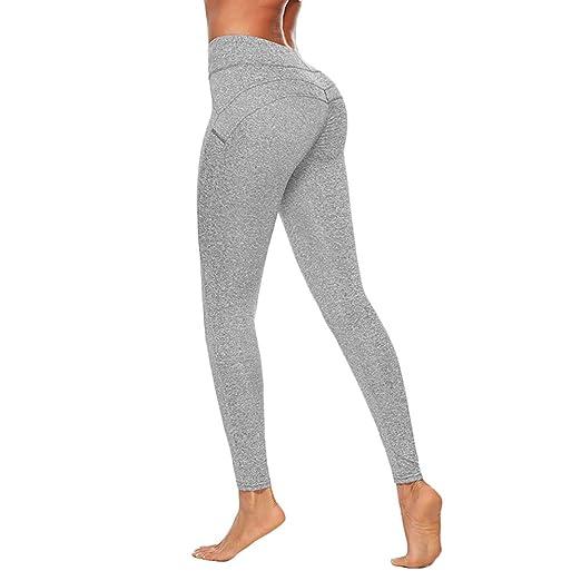 Gespout Pantalones de Yoga Ajustados Grises Pantalón de ...