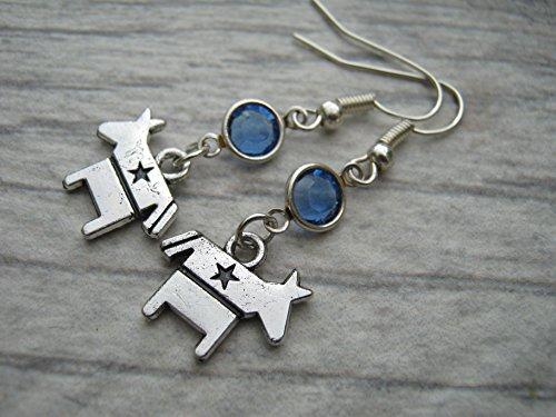 Democrat Birthstone Earrings, Personalized Donkey Earrings, Animal Earrings, Political Earrings, Politician Jewelry
