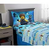 LEGO Movie - Juego de sábanas de Microfibra Suave para niños, tamaño Individual, 3 Piezas, Color Azul