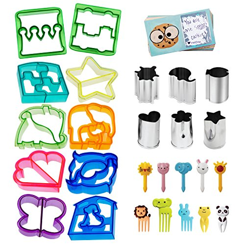 UpChefs Sandwich Cutters for kids - Create Healthy School Lunches in Minutes with These Fun Bento Lunch Box Accessories – Includes Fruit and Vegetable cookie cutters – Food Picks Plus Scratch Notes -