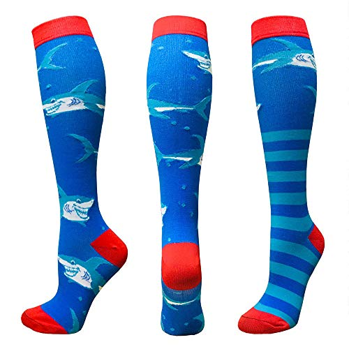 Compression Socks For Women&Men 3/6 Pairs - Best Medical for Running Athletic Flight Travel Circulation Recovery, 20-30mmHg (Assorted 18-1 Pair, Large/X-Large)