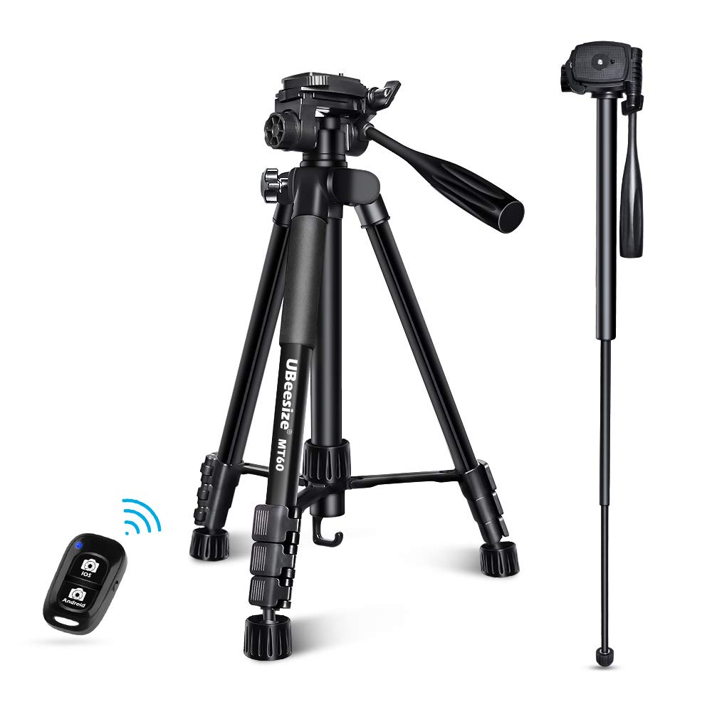 UBeesize 60インチカメラ三脚 MT60アルミニウム一脚三脚コンボ 軽量 プロフェッショナル トラベル ビデオカメラスタンド キャリーバッグ付き デジタル一眼レフ/一眼レフ/携帯電話用   B07NQJ4BDS