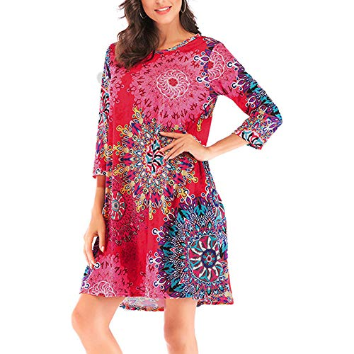 Fewear Clearance Dress Womens Casual O-Neck Printed Ethnic