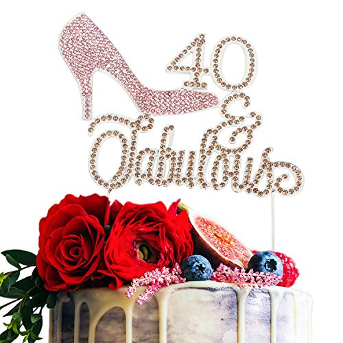 High Heel 40 & Fabulous Pink and Gold Rhinestone Birthday Cake Topper Fourty Birthday Cake Topper Premium Sparkly Crystal Rhinestone Bday Party Decorations