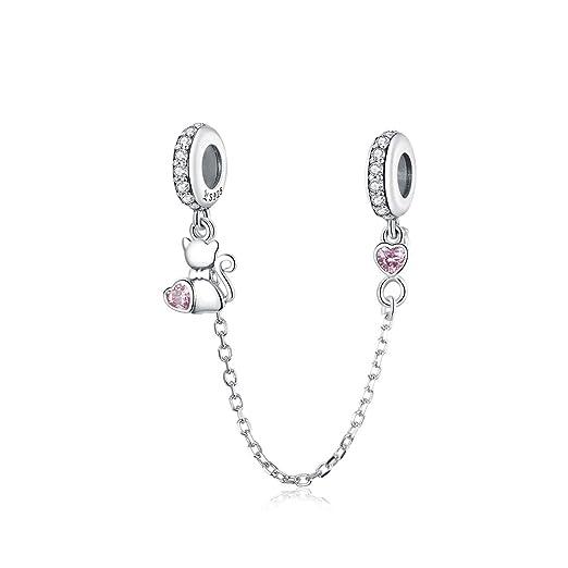 Abalorio de cadena de seguridad con forma de corazón compatible con pulseras Pandora de plata de ley 925 con cierre de broche para pulseras de mujer ...