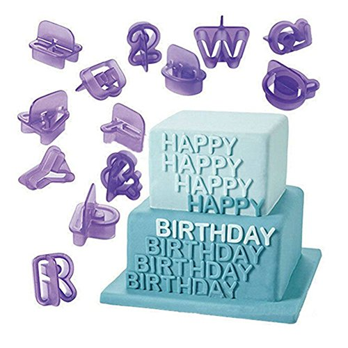 Blisscomdep 40 Pcs Food Grade Plastic Alphabets Letters Fondant with Numbers Mould Set DIY Cake/Chocolate/Sugarcraft/Cookie Cutter Set-Purple