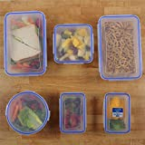 Zuvo: Reusable Food Storage Containers with Lids - 6pcs Set, Clip & Lock, Microwave Freezer & Dishwasher Safe, Leak & Crack Proof, BPA Free (Rectangular,Square, Round, Clear Box, Blue Clip)