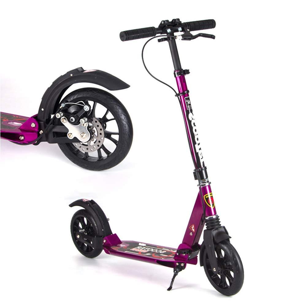 キックスクーター ディスクブレーキ付き大人用キックスクーター、大きな車輪付きの折りたたみ式通勤スクーター、大人/ 10代/子供向けの誕生日プレゼント、最大150kg、非電気 (色 : ブラック) B07QNFL8DX 紫の 紫の