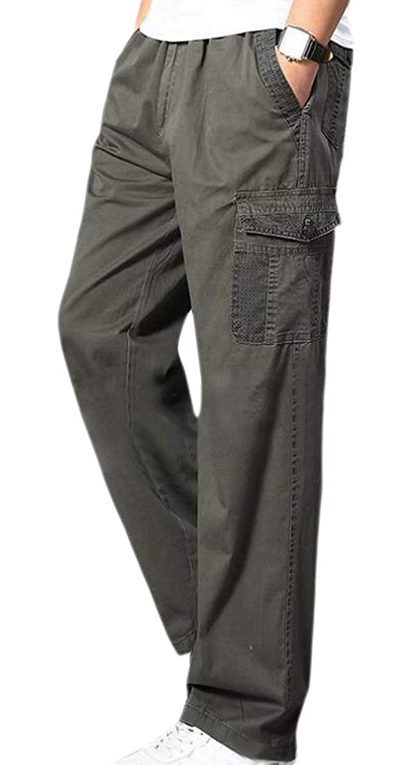 WSPLYSPJY Mens Elastic Waist Running Jogger Cargo Pants Sport Trousers