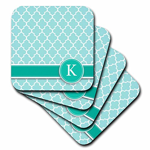 3dRose cst_154551_3 Personalized Letter K Quatrefoil Pattern Teal Turquoise Mint Monogrammed Personal Initial Ceramic Tile Coasters, Set of ()