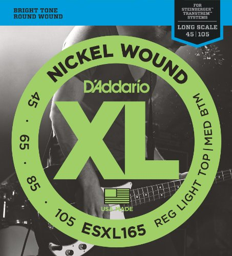D'Addario ESXL165 Nickel Wound Bass Guitar Strings with Long Scale and Double Ball End, Medium, 50-105 from D'Addario