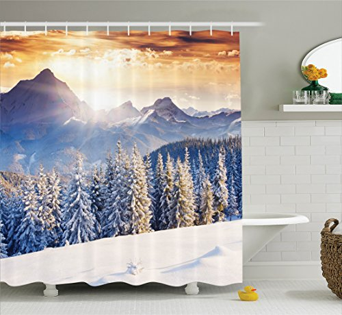 Ambesonne Room Decorations Collection, Winter Wonderland Snowfall Christmas December Fairytale Alp Cold Scenic Print, Polyester Fabric Bathroom Shower Curtain, 84 Inches Extra Long, White Navy Blue