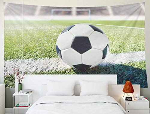 Yecationy Art Tapestry, Tapestry Psychedelic Tapestry 60x50 Inch Soccer Ball Background Goal Stadium Tapestry Wall Hanging Living Room Decoration Tapestries