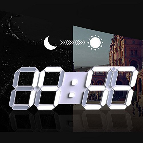 Modern Fashion Home Minimalist LED Digital Wall Clock - 3D Led Desk Clock/Alarm Clock (white) by HJsheng