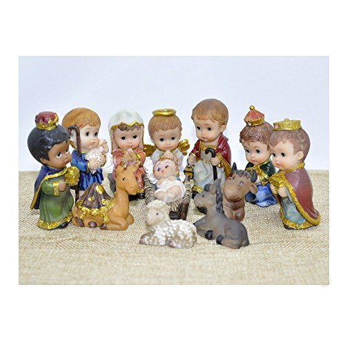 Christmas Nativity Set Scene Cartoon Figures Figurines Baby Jesus-12 PIECE SET NEW by Unknown