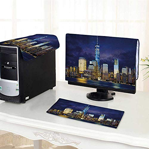 (Auraisehome One Machine LCD Monitor Keyboard Cover York USA Manhattan Scenery Skyline Skyscrapers Ocean City Wiev Image Photo Multicolor dust Cover 3 Pieces /23