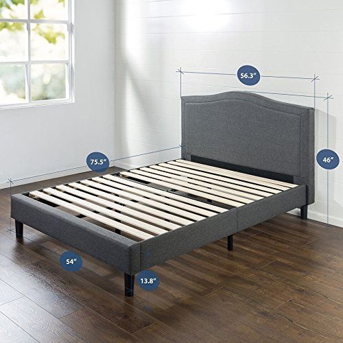 Zinus Avignon Upholstered Detail Stitched Scalloped Platform Bed, Full