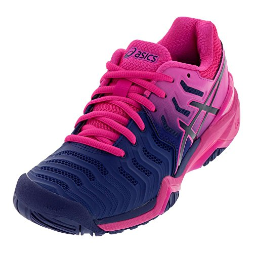 ASICS Women's Gel-Resolution 7 Tennis Shoes, Pink/Blue, Size 5.5