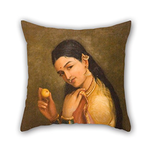 Button Embroider (Loveloveu Throw Pillow Covers Of Oil Painting Raja Ravi Varma - Woman Holding A Fruit,for Teens Girls,valentine,wife,home Office,bf,kids 16 X 16 Inches / 40 By 40 Cm(2 Sides))