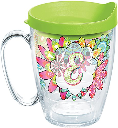 Tervis 1278214 INITIAL-E Flower Burst Tumbler with Wrap and Lime Green Lid 16oz Mug, Clear - Lime Green Mug