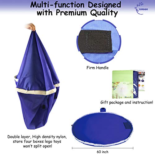 Portable Childrens Play Mat WowMaker Kids Play Mat Toy Organizer Blue 60 inches Toy Storage Bag /& Floor Mat