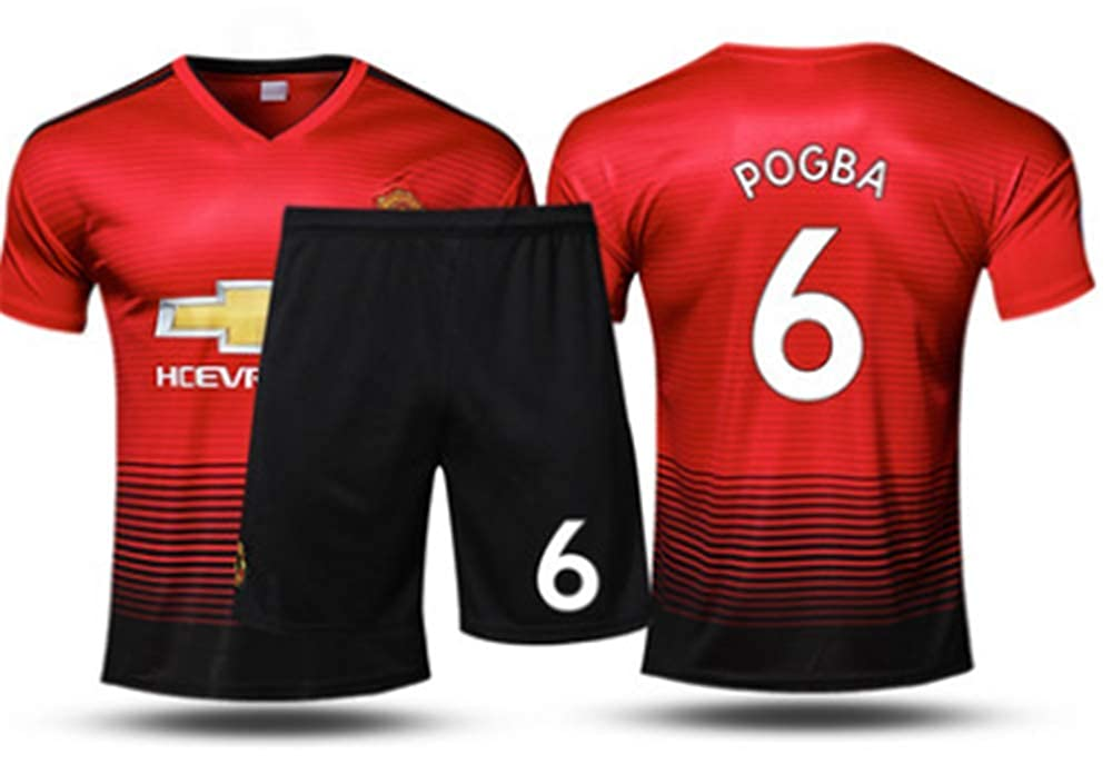 promo code 0dd07 e062d LISIMKE Soccer Home Soccer 2018/19 DManchester United Pogba #6 Kid Youth  Replica Jersey Kit : Jersey & Shorts & Socks