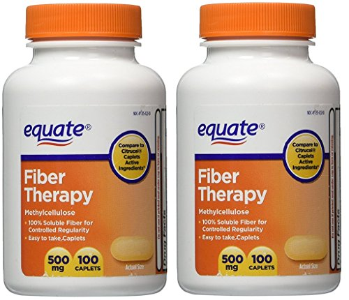 Equate Fiber Therapy For Regularity Fiber Supplement Caplets, 500mg, 100-Count Bottle  (Pack of 2) (Therapy Caplets)