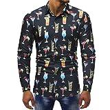 Men Printed Shirt Fashion Blouse Casual Pollover Long Sleeve T Shirt Sweatshirts Slim Shirts Tops by SanCanSn (Black,XL)