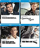 The 007 Agents Spy Mission 4 Movies Thunderball Sean Connery James Bond You Only Live Twice & Roger Moore Blu Ray Man with Golden Gun / Quantum of Solace Daniel Craig Four film Action Set Collection