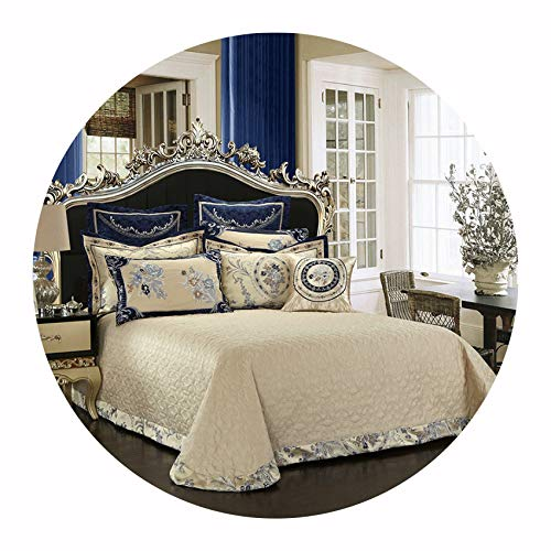 Wedding Gift 60S Egyptian Cotton Jacquard Bedding Set 4/6/8/9Pcs King Queen Size Bed Sheet Set Duvet Cover Pillowcases,Bedspread 4 6 8 9pcs,King Size 6pcs