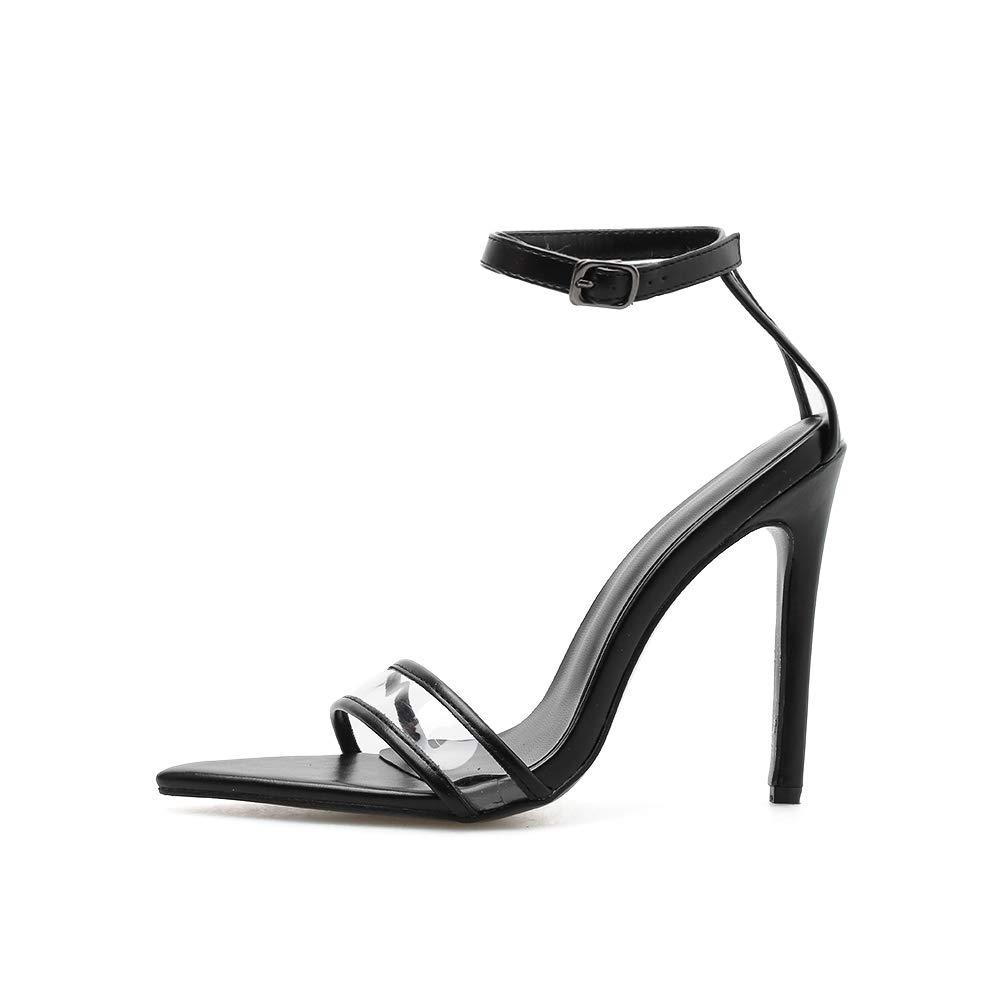 FengJingYuan Sandali da Donna -Il Cinturino da Travestimento a Punta Tacco Alto Moda Scarpe da Donna Sexy,nero,35