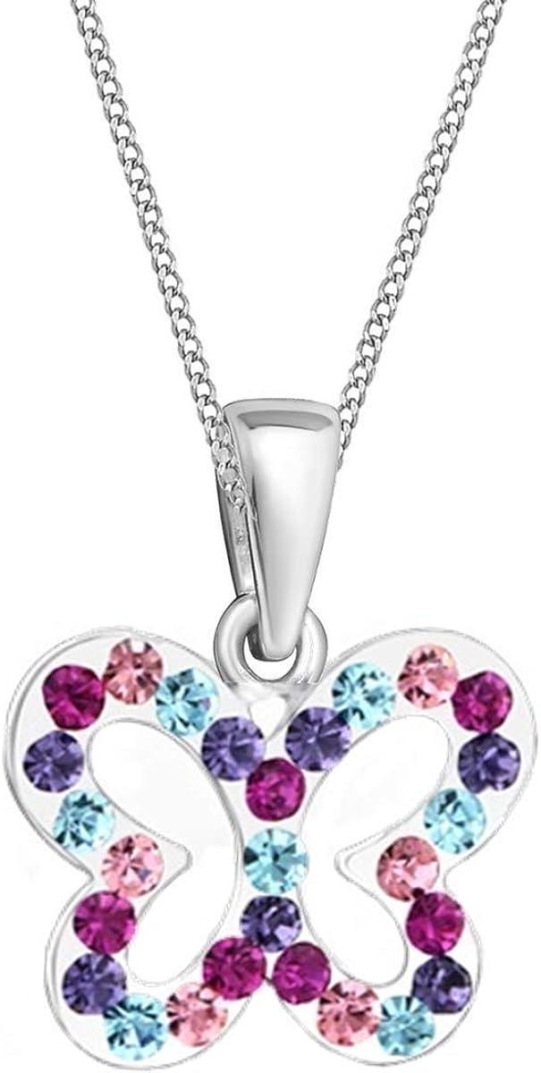 Kristall Schmetterling Anh/änger mit Halskette 925 Silber M/ädchen Kinder Baby Kette