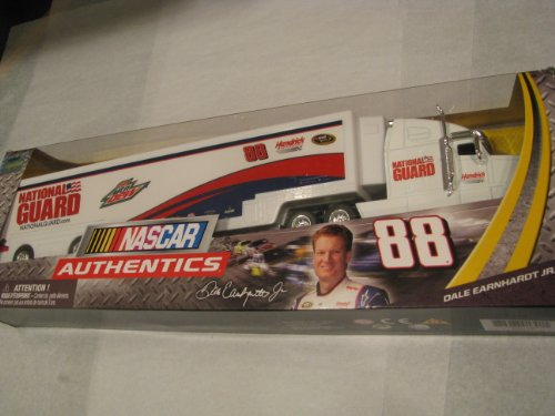 Dale Earnhardt Jr #88 White National Guard 1/64 1:64 Scale Diecast Hauler Trailer Truck Tractor Semi Rig Transporter Metal Cab/Tractor, Plastic Trailer NASCAR Authentics ()