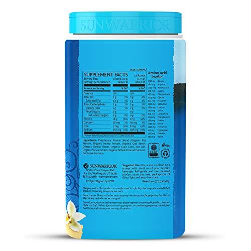 Sunwarrior – Warrior Blend, Plant Based, Raw Vegan Protein Powder with Peas Hemp, Vanilla, 30 Servings