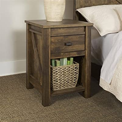 Falls creek Night Stand, weathered Dark Pine features 1 drawer for concealed storage and open storage for books or decorating accessories BONUS FREE E-book