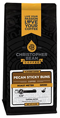 Christopher Bean Coffee Ground Coffee, Pecan Sticky Buns, 12 Ounce - Pecan Sticky Buns
