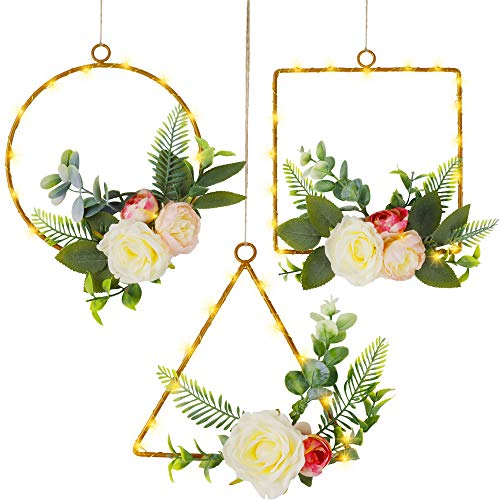 Twinkle Star Set of 3 Lighted Floral Hoop Wreath, Artificial Peony Flower Eucalyptus Wreath with 70 LED Copper Lights…