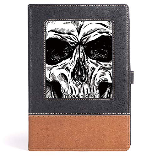 Halloween - Case Bound Notebook - Gothic Dead Skull Face Close Up Sketch Evil Anatomy Skeleton Artsy Illustration Decorative - 100 sheets/200 pages - A5/6.04x8.58 -