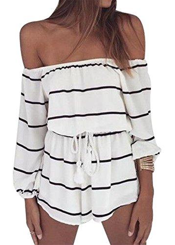 MAXIMGR Women's Off Shoulder Stripe Outfit Long Sleeve Tie Waist Short Pants Jumpsuit Romper Size L (White)