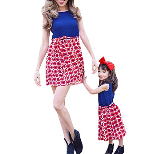 Mommy&Me Women Family Summer Sleeveless Splice Dress 4th of July Dress -