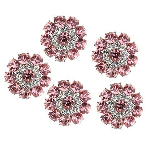 (Baoblaze 5 Pieces Fashion Vintage Crystal Flower Rhinestone Shank Buttons Sew Bulk DIY Sewing Crafts 0.78 inch - Pink - Plum blossom)