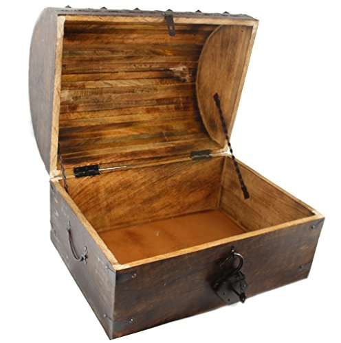 Well Pack Box Wooden Pirate Treasure Chest With Lock – Antique Strong Box Style By WellPackBox