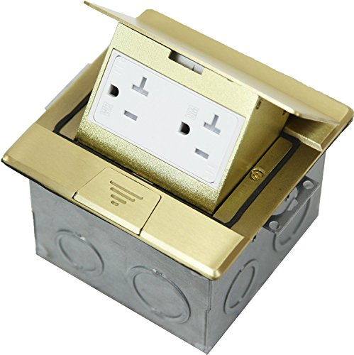 Enerlites Electrical Floor Box 661241   Single Gang, 20A Weather-Proof Outlet, Tamper Resistant Duplex Receptacle, Water tight/Corrosion Resistant, UL Listed for Carpet, Wood, Marble, Granite   Brass ()