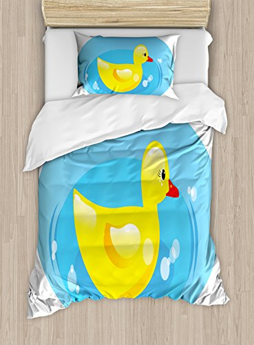 Lunarable Duckies Duvet Cover Set Twin Size, Cartoonish Design of a Duckling in Puddle with Bubbles Abstract Illustration, Decorative 2 Piece Bedding Set with 1 Pillow Sham, Blue Ruby Yellow (Pillow Puddle)